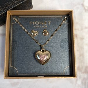 Monet gold necklace locket and earring set.